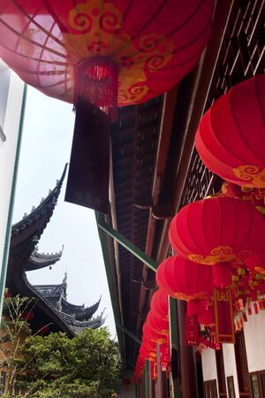 Red Lanterns Jade Buddha Temple Jufo Si Shanghai China Most famous buddhist temple in Shanghai photo