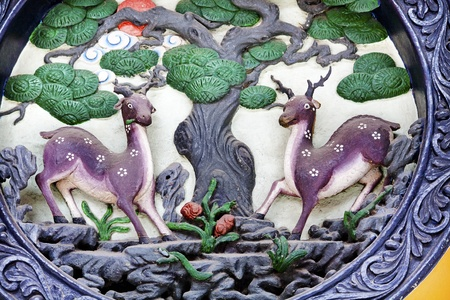 asia deer: Deer Metal Sculputure Outside Jade Buddha Temple Jufo Si Shanghai China Most famous buddhist temple in Shanghai