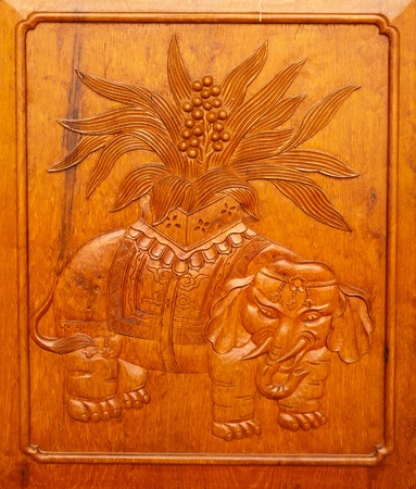 Wooden Elephant Panel Door Jing An Tranquility Temple Shanghai China Richest buddhist temple in Shanghai photo