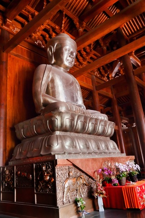 Silver Buddha in Wooden Hall Altar Jing An Tranquility Temple Shanghai China Richest Buddhist temple in Shanghai
