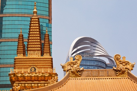 Golden Temples Dragons Roof Top Jing An Tranquility Temple Shanghai China Richest buddhist temple in Shanghai
