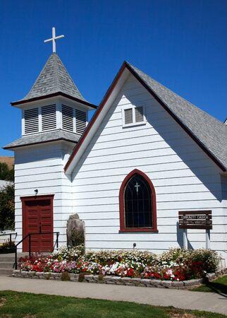 palouse: Small White Christian Church Palouse Washington State Pacific Northwest Stock Photo