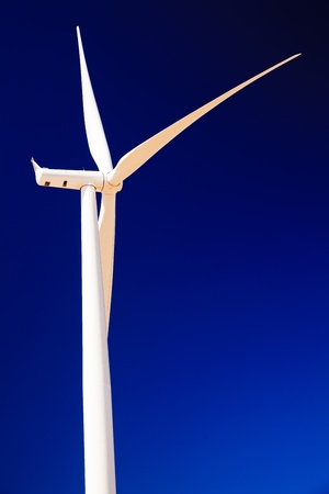 palouse: Wind Turbine Abstract.  White Wind Turbine and Blades Against Blue Sky Palouse Hills Washington