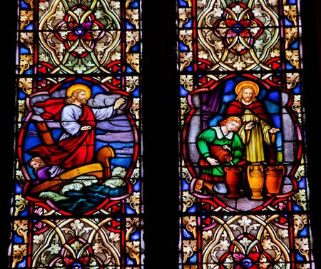 Jesus Quieting Water Making Wine Stained Glass in National Shrine of Saint Francis of Assisi San Francisco California   This church was founded in 1849 and rededicated in 1919 after church was destroyed in 1905 earthquake  photo