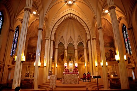 Altar and Basilica in National Shrine of Saint Francis of Assisi San Francisco California   Church has relics of St Francis   This church was founded in 1849 and rededicated in 1919 after church was destroyed in 1905 earthquake