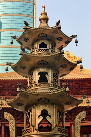 Large Incense Burner Jing An Tranquility Temple Shanghai China Richest buddhist temple in Shanghai photo