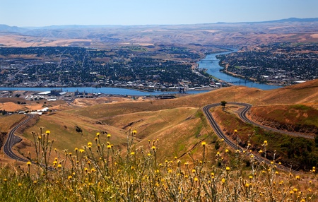 View of Snake River in Lewiston Idaho taken from Lewiston Hill   Lewiston is named for Meriwether Lewis of Lewis and Clark and is the most inland seaport of any port on the West Coast  Stock Photo
