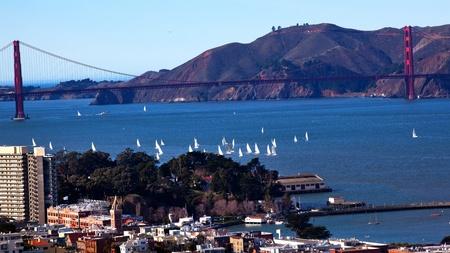 telegraph hill: Golden Gate Bridge Sailboats from Coit Tower San Francisco California on Telegraph Hill