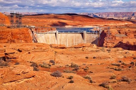 Glen Canyon Dam Bridge Lake Powell Arizona.  Orange Canyon and Electric Power Lines. photo