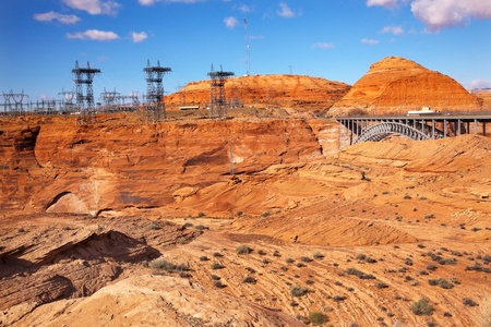 Glen Canyon Dam Electric Power Towers and Lines Arizona.  Orange Canyon photo