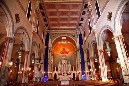 high altar: Interior Saint Peter and Paul Catholic Church Completed 1924 San Francisco California   Christ the Pantocrator, Christ the All Powerful, in the Background by Ettore and Giuditta Serbaroli