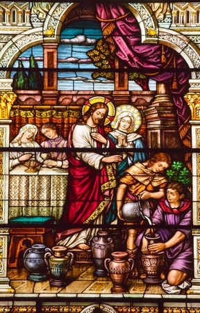 Jesus Turns Water to Wine at Cana Saint Peter and Paul Catholic Church Completed 1924 San Francisco California  Stock Photo