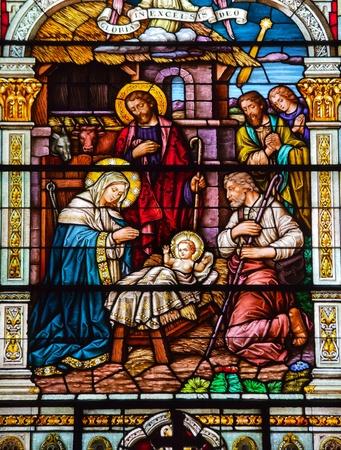 Jesus Nativity Scene At Birth Saint Peter and Paul Catholic Church Completed 1924 San Francisco California  Foto de archivo