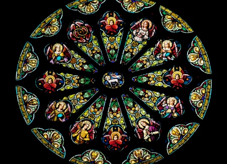 Rose Stained Glass Window Saint Peter and Paul Catholic Church Completed 1924 San Francisco California   Stained Glass Represents Lamb of God before the Throne of God Surrounded by the 12 Tribes of Israel 12 Apostles  Stock Photo - 12885577