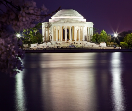 with reflection: Jefferson Memorial Cherry Blossoms Statue and Tidal Basin in April with Reflection Editorial