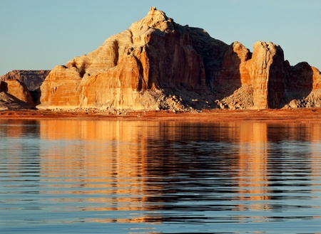 Castle Rock Reflection Wahweap Bay Lake Powell Glen Canyon Recreation Area Arizona Stock Photo - 13358314
