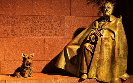 Franklin Delano Roosevelt Memorial and Statue with Fala, FDR Stock Photo