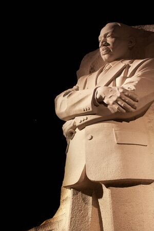 Martin Luther King Jr  Memorial Statue Venus, Jupiter and Stars Night Washington DC Sculptor is Lei Yixin Editorial