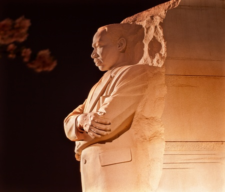 Martin Luther King Jr  Memorial Statue Cherry Blossoms Evening Washington DC Sculptor is Lei Yixin Editorial