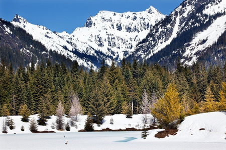 Gold Lake Chikamin Peak Snoqualme Pass Spring SnowWenatchee National Forest Wilderness Washington Stock Photo - 13642711