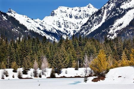 Gold Lake Chikamin Peak Snoqualme Pass Spring SnowWenatchee National Forest Wilderness Washington Stock Photo - 13642711