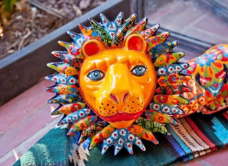 clay craft: Meixan Colorful Souvenir Ceramic Lion San Diego California  Stock Photo