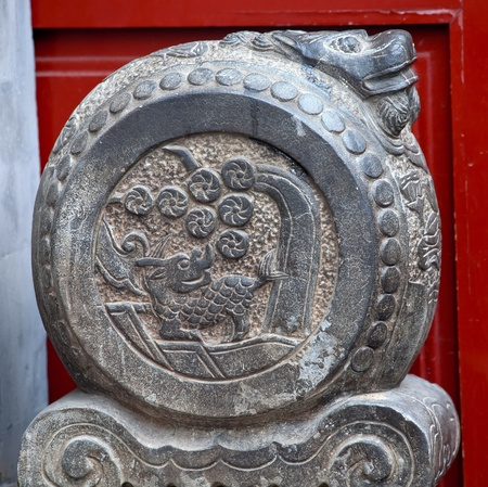 China Dragon Door Stone Houhai Beijing, China   China door stones were used to symbolize status of officials under Emperor  photo