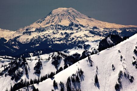 Snowy Mount Saint Adams and Ridge Lines Mountain Glacier from Crystal Mountain photo