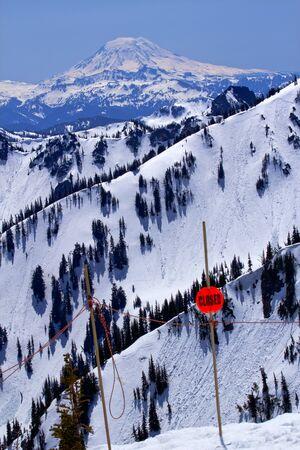 adams: Back Country Snowy Mount Saint Adams Ridge Lines Closed Sign Stock Photo