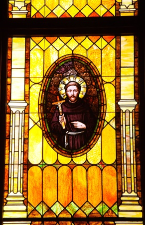 friar: Friar Junipero Serra, Founder of California Missions, Stained Glass, Old Immaculate Conception Church Old San Diego California  Historic Adobe Church built originally in 1851   The Old Adobe Church was restored and reopened in 1917    Editorial