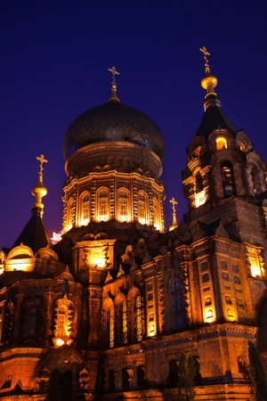 russian orthodox: Saint Sofia Russian Orthodox Church Side View Dome Details Harbin China  Largest Russian Orthodox Church in China   Built in the early 1900s, now a museum in Harbin