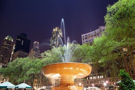bryant park: Fountain Bryant Park New York City Apartment Buildings Stars Night