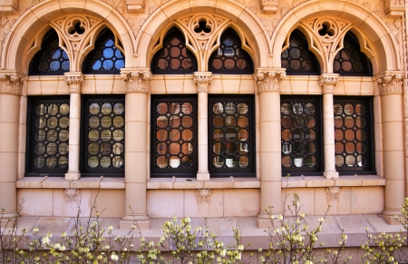 ivy league: Yale University Ornate Victorian Windows Reflection, New Haven Connecticut Editorial