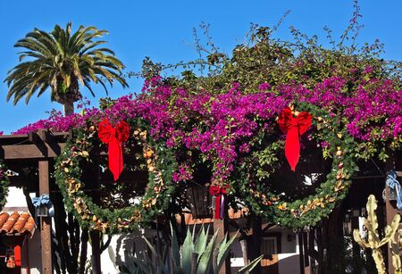 Christmas Wreath Decorations Purple Bounganvilla Palm Tree Cactus Garden  Old San Diego Town California Stock Photo