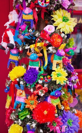 pinata: Mexican Christmas Tree Decorations Old San Diego Town California Stock Photo