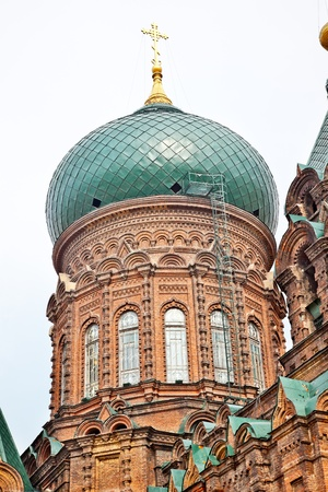 Saint Sofia Russian Orthodox Church Dome Harbin China  Largest Russian Orthodox Church in China.  Built in the early 1900s, now a museum in Harbin. Editorial