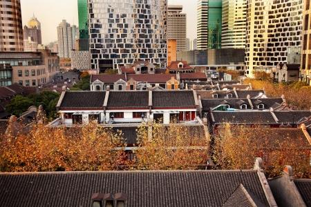 中国の古い新天地住宅高層ビル盧湾上海中国