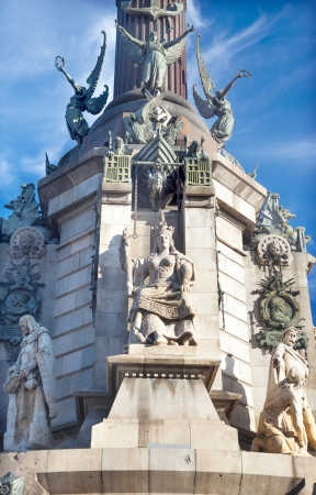 Queen Isabella Statue, Columbus Monument, Monument A Colom, Barcelona, Spain   At one end of the La Rambla, the monument was completed for the Universal Exposition in 1888 and is located at the spot where Columbus returned to Spain after his first trip to photo
