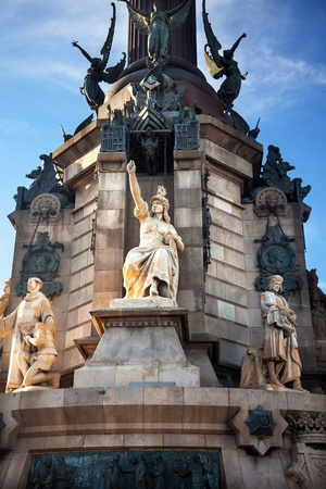 Columbus Monument, Monument A Colom, Victory Statue, Barcelona, Spain   At one end of the La Rambla, the monument was completed for the Universal Exposition in 1888 and is located at the spot where Columbus returned to Spain after his first trip to the Am photo