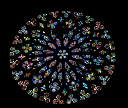 Rose Stained Glass Window, Old Stone Basilica, St Maria del Pi, Saint Mary of Pine Tree, in Barcelona, Spain  Saint Maria del Pi was founded in 987AD or earlier  This is one of the largest rose windows in the World and was created in 1380