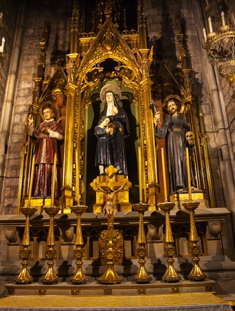 queen isabella: Saints Joaquima de Vedruna, Francis of Assisi, Anthony M  Claret, St Maria del Pi, Saint Mary of Pine Tree, Barcelona, Spain  St Joaquima, founder of Carmelit Sisters, and Saint Mary Claret was the confessor to Queen Isabella II of Spain   Saint Maria del