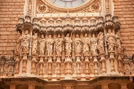 disciples: Christ Disciples Statues Facade Golthic Cloister Monestir Monastery of Montserrat, Barcelona, Catolonia, Spain   Founded in the 9th Century, destroyed in 1811 when French invaded Spain  Rebuilt in 1844 and now a Benedictine Monastery   Placa de Santa Mari