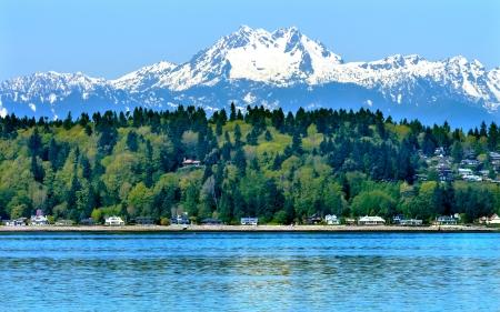 Bainbridge Island Puget Sound Olimp Śnieg Góry Olympic National Park w stanie Waszyngton Pacific Northwest Zbliżenie Evergreen