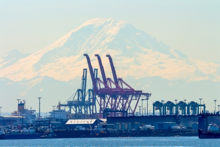 Seattle Port with Red Cranes and Mt Ranier in the Background  photo