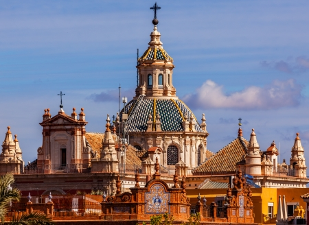 el: Church of El Salvador, Iglesia de El Salvador, Dome with Cross, Seville Andalusia Spain   Built in the 1700s   Second largest church in Seville