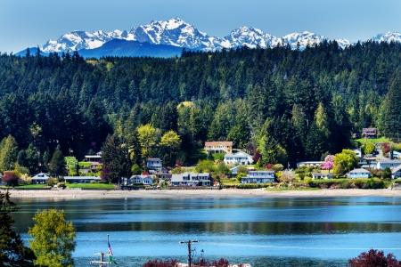 Poulsbo Bainbridge Island Puget Sound Snow Mountains Olympic National Park Washington State Pacific Northwest Stock Photo