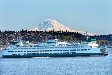 Car Ferry Mount Rainier Puget Sound North Seattle Snow Mountain Washington State Pacific Northwest