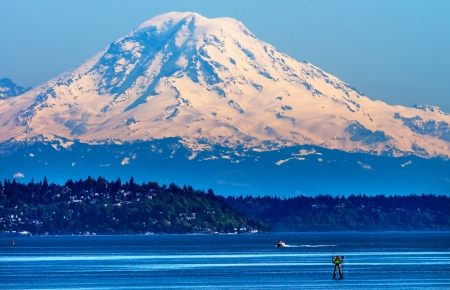 Mount Rainier Puget Sound North Seattle Snow Mountain Channel Marker Washington State Pacific Northwest
