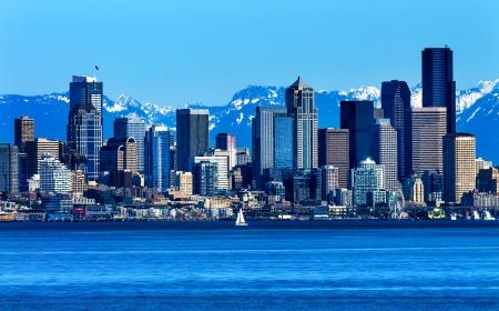 Seattle Skyline Sailboat Puget Sound Cascade Mountains Washington State Pacific Northwest