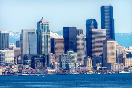 puget sound: Seattle Skyline Puget Sound Cascade Mountains Washington State Pacific Northwest